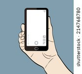 man hand holding a smart phone... | Shutterstock . vector #214768780