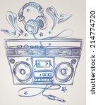 drawn boom box   headphones   Shutterstock .eps vector #214774720