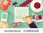 writing into notebook... | Shutterstock .eps vector #214806268