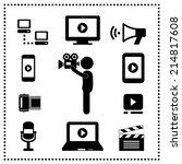media symbol on gray background  | Shutterstock .eps vector #214817608