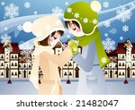 winter story with lovely young... | Shutterstock .eps vector #21482047
