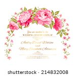 peony garland for holiday card. ... | Shutterstock .eps vector #214832008