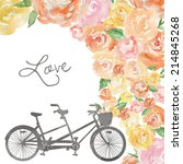 wedding bicycle built for two.... | Shutterstock . vector #214845268