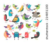 cute vector cartoon birds set... | Shutterstock .eps vector #214851100