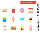 fast food icon set. flat design ... | Shutterstock .eps vector #214853608