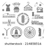 sewing equipment fashion tailor ... | Shutterstock .eps vector #214858516
