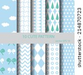 sweet and cute pattern set...   Shutterstock .eps vector #214870723