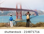 golden gate bridge   biking... | Shutterstock . vector #214871716