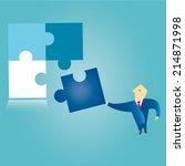 businessman solving jigsaw... | Shutterstock .eps vector #214871998