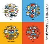 flat line icons set of seo  smm ... | Shutterstock .eps vector #214873870