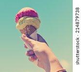 Gelato Ice Cream Cone Held Up...