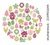 christmas element icons in... | Shutterstock .eps vector #214901644