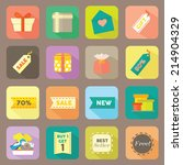 gift and shop flat icons vector ... | Shutterstock .eps vector #214904329