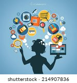 silhouette woman shopped online ... | Shutterstock .eps vector #214907836