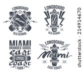 longboard retro emblems.... | Shutterstock .eps vector #214914670