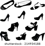 women shoes silhouettes   vector | Shutterstock .eps vector #214934188