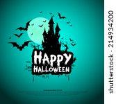 happy halloween card template ... | Shutterstock .eps vector #214934200