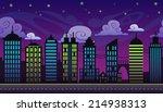 seamless cartoon night city...