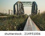 railway bridge in morning sun | Shutterstock . vector #214951006