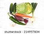 fresh vegetables isolated on... | Shutterstock . vector #214957834