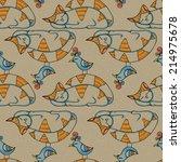 sleeping cat and bird. seamless ... | Shutterstock . vector #214975678