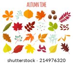 Set Of Autumn Leaves And...