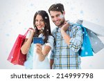 attractive young couple with... | Shutterstock . vector #214999798