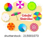 set of colorful umbrellas on... | Shutterstock .eps vector #215001073