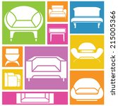 sofa icons  interior design... | Shutterstock .eps vector #215005366
