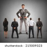 the authoritarian boss in front ... | Shutterstock . vector #215009323