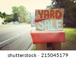yard sale sign on a mailbox | Shutterstock . vector #215045179