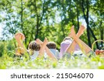 young happy family lying in... | Shutterstock . vector #215046070