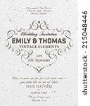 vintage elegant wedding... | Shutterstock .eps vector #215048446