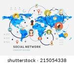 social network vector concept.... | Shutterstock .eps vector #215054338