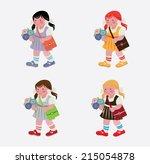 schoolgirl   a girl | Shutterstock .eps vector #215054878