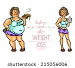 woman before and after weight... | Shutterstock .eps vector #215056006