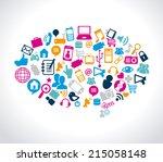 social media design over white... | Shutterstock .eps vector #215058148