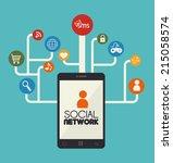 social network design over blue ... | Shutterstock .eps vector #215058574