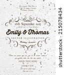 vintage elegant wedding... | Shutterstock .eps vector #215078434