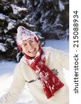young woman with snowy hat and... | Shutterstock . vector #215088934