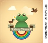 Baby shower illustration with comic frog. Vector illustration. - stock vector