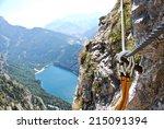 via ferrata in the austrian alps | Shutterstock . vector #215091394