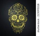 golden mexican sugar skull | Shutterstock . vector #215095318