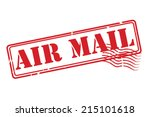 air mail red rubber stamp...