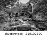 Black and white image of the Old Grist Mill at Babcock State Park, WV - stock photo