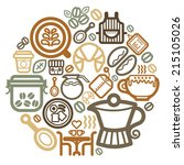 coffee icon vector circle | Shutterstock .eps vector #215105026