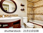light tones bathroom with tile... | Shutterstock . vector #215110108