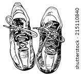 pair of sneakers   hand drawn.... | Shutterstock .eps vector #215110840