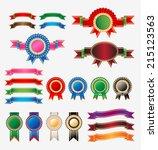 rosette ribbon set vector | Shutterstock .eps vector #215123563