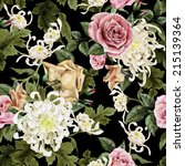 seamless floral roses with... | Shutterstock . vector #215139364